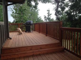 Redwood deck after