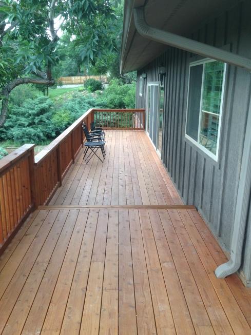 Redwood wrap around deck after